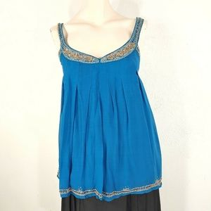 French Connection Womens blouse Size 2 Blue Silk